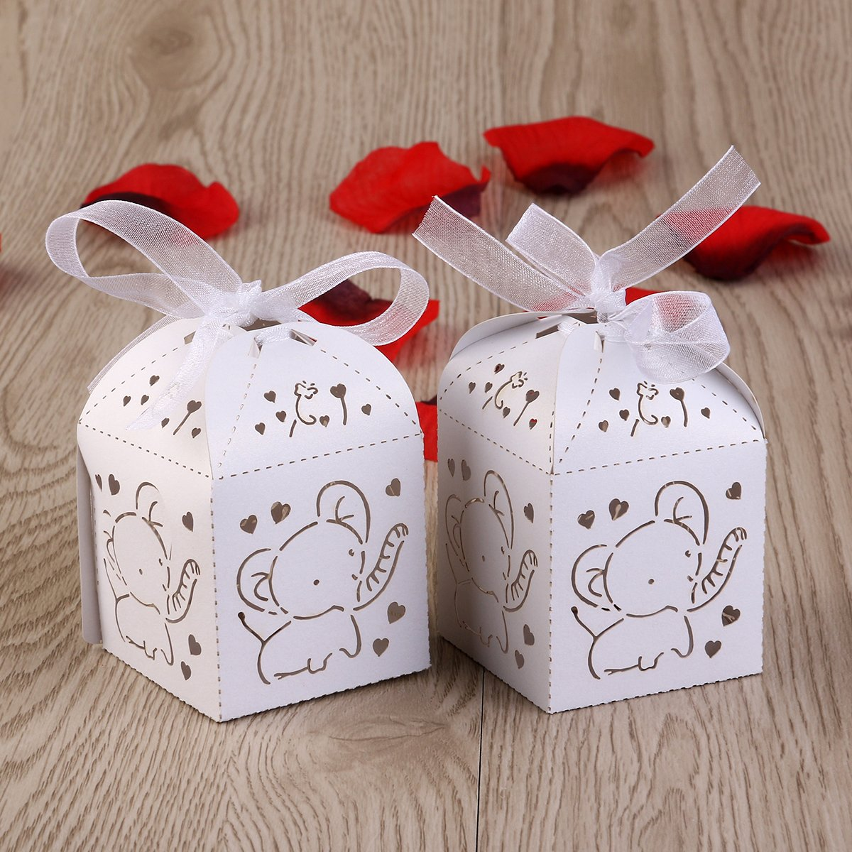 Amazon Tinksky 50pcs Hollow Out Elephant Pattern Candy Boxes