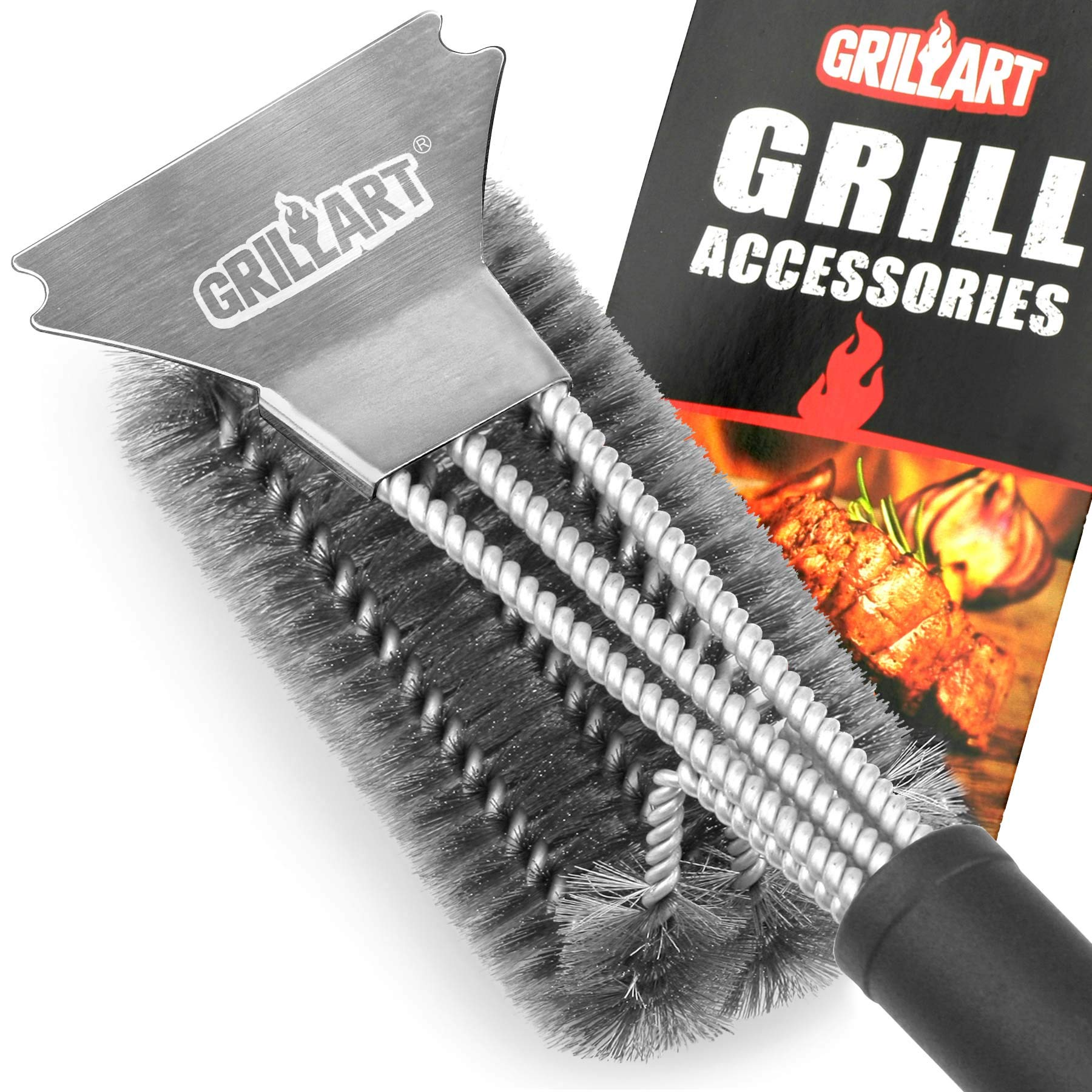 GRILLART Combination Grill Brush and Scraper by GRILLART