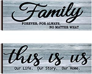 2 Pieces This is Us Rustic Wooden Sign Family Rustic Wooden Wall Decor Family Farmhouse Entryway Sign for Bedroom Living Room Office Decor, 4.7 x 13.8 Inch (Gray)