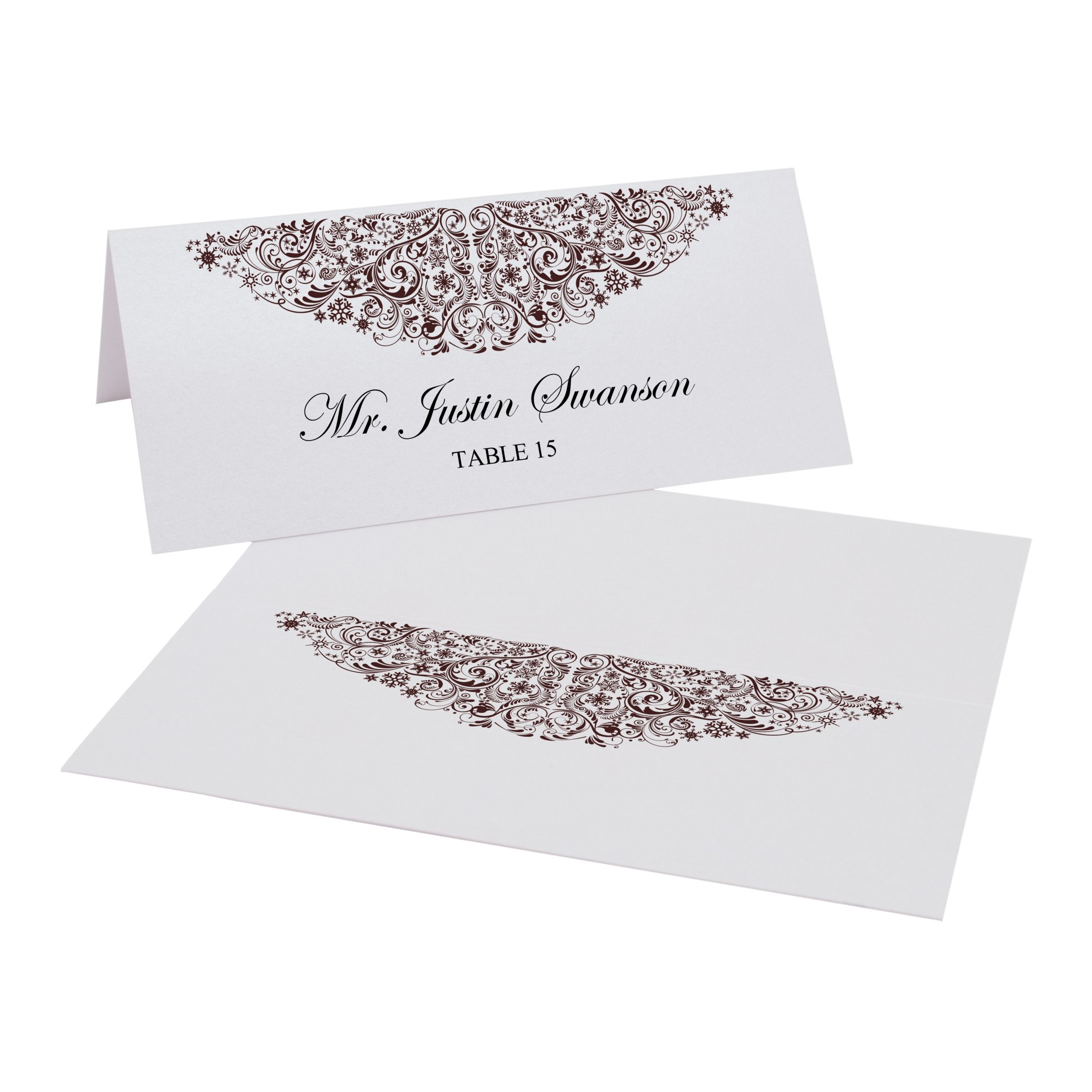 Vintage Snowflake Flourish Place Cards, Pearl White, Chocolate, Set of 375 by Documents and Designs