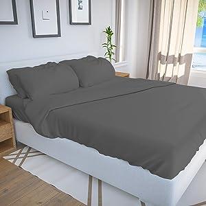 Bamboo Bay 6-Piece Bamboo Sheet Set (10 Colors) - Soft, Breathable & Cooling 100% Viscose from Bamboo Sheets - Extra Deep Pocket, No-Slip Fitted Sheet (King Size, Dark Grey)