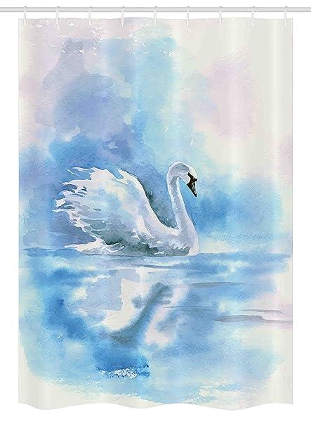 Cortina de ducha de cisne estanque por Ambesonne, acuarela dibujo imagen de cisne en el