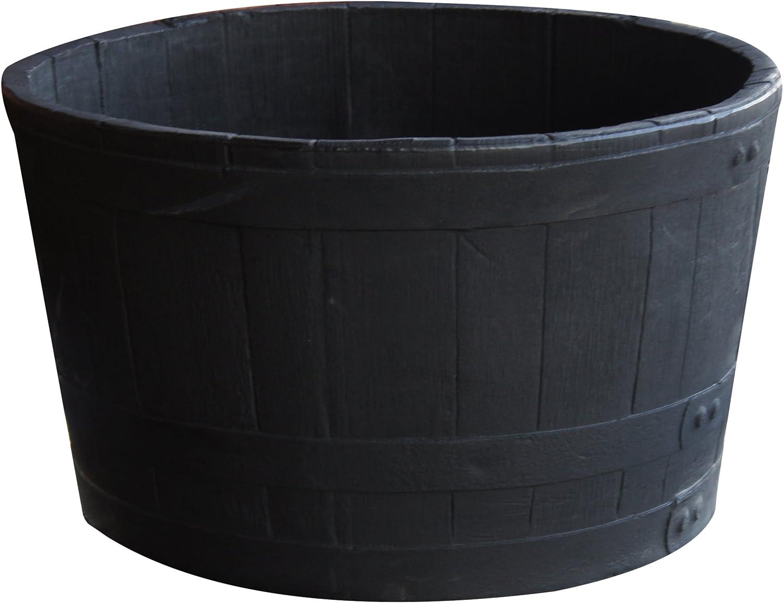 RTS Home Accents 5600-00100F-80-81 Polyethylene Barrel Planter, Black