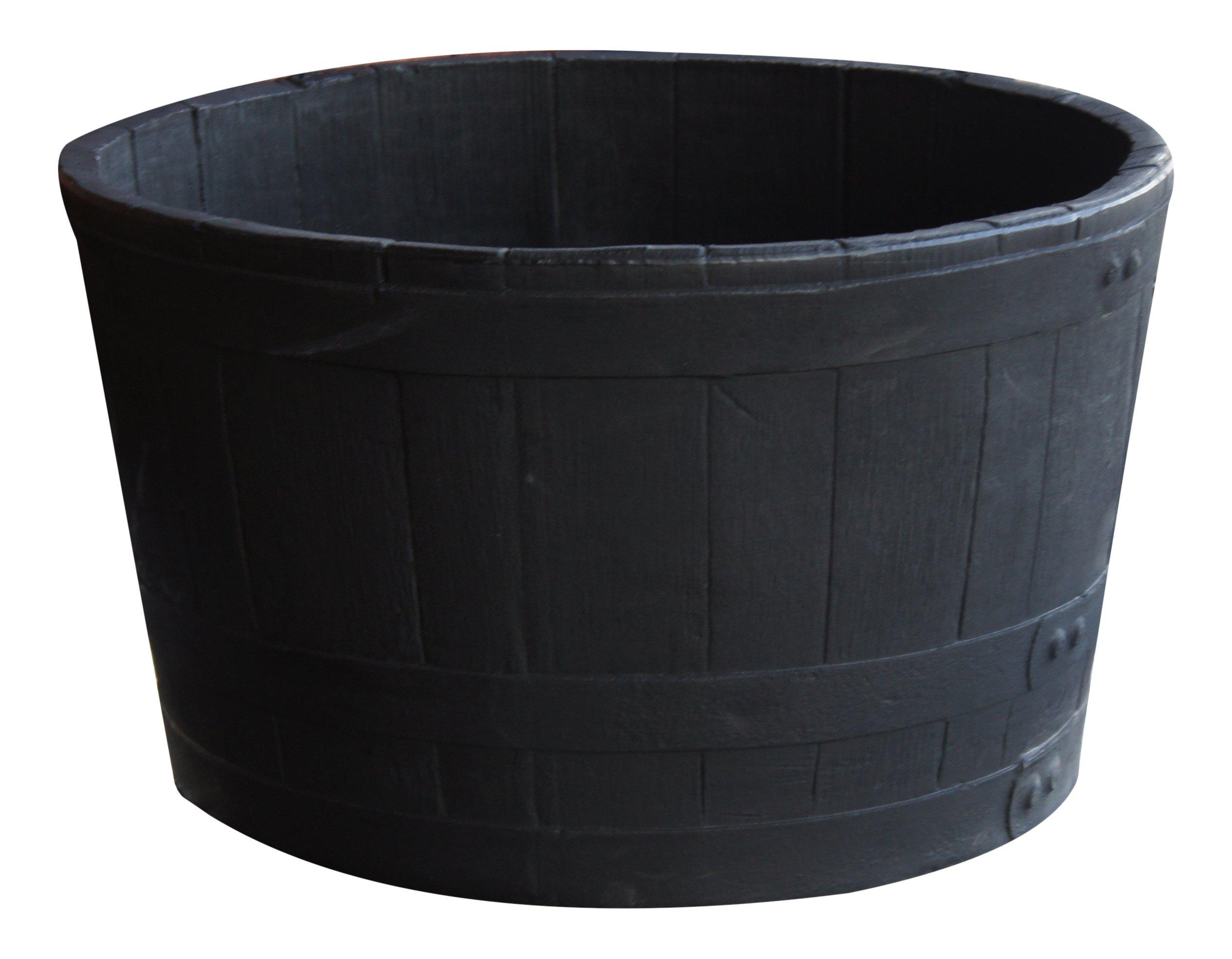 RTS Home Accents 5600-00100F-80-81 Polyethylene Barrel Planter, Black by RTS Companies Inc