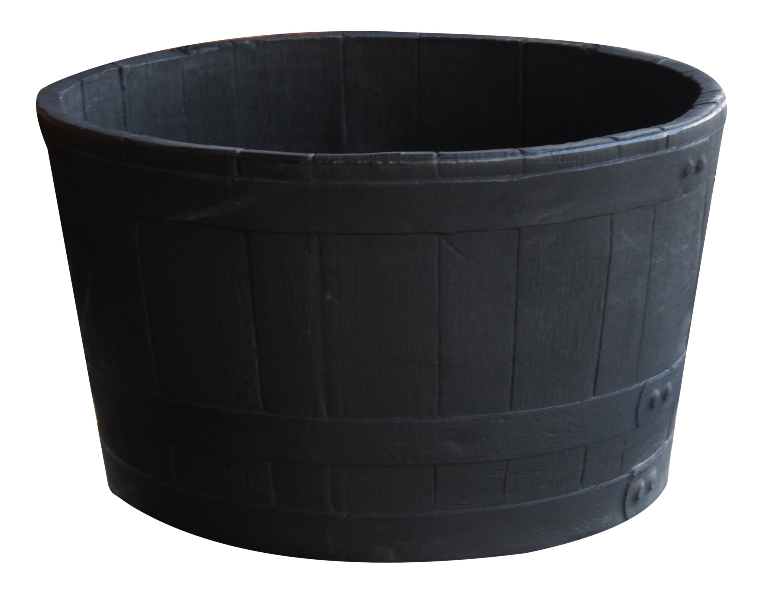 RTS Companies Inc RTS Home Accents 5600-00100F-80-81 Polyethylene Sanded Barrel Planter, Black