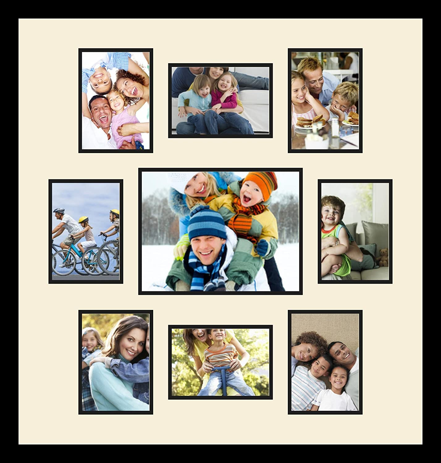 Art to Frames Double-Multimat-1114-47R//89-FRBW26079 Collage Photo Frame Double Mat with 1-8.5x11 and 8-5x7 Openings and Satin Black Frame