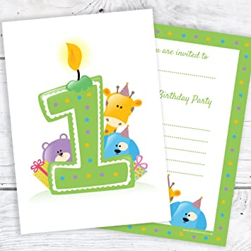 Olivia Samuel First Birthday Party Invitations Green Candle And Animals Design A6 Postcard Size With Envelopes Pack Of 10