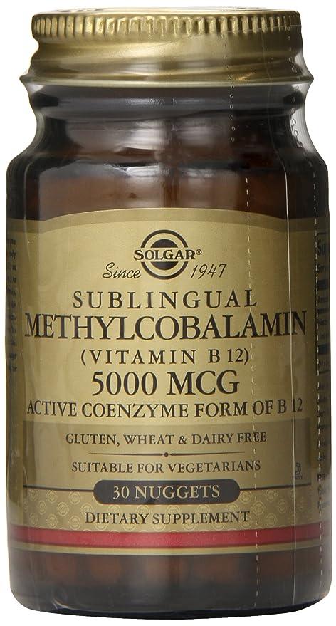 Solgar - Magnetocardiograma de la vitamina B12 de Sublingual 5000 Methylcobalamin. - 30 Pepitas
