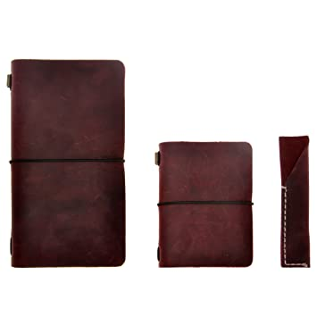 Agenda / cuaderno / diario de viaje en cuero – rellenable, clásico / vintage, hecho a mano, con porta-lápices, conjunto de tres