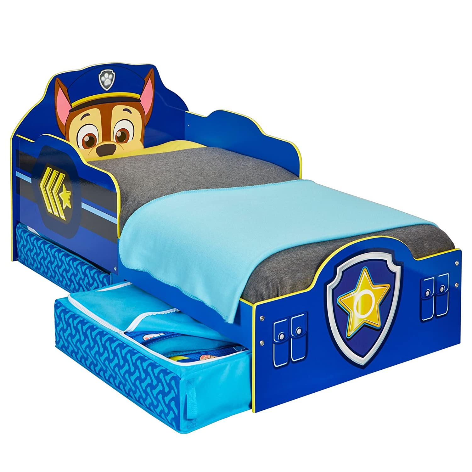 Paw Patrol Chase Kids Toddler Bed with Underbed Storage by HelloHome Worlds Apart 509PWP