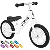 Cruzee UltraLite Balance Bike (4.4 lbs) for Ages 1.5 to 5 Years, White, 12 Inch