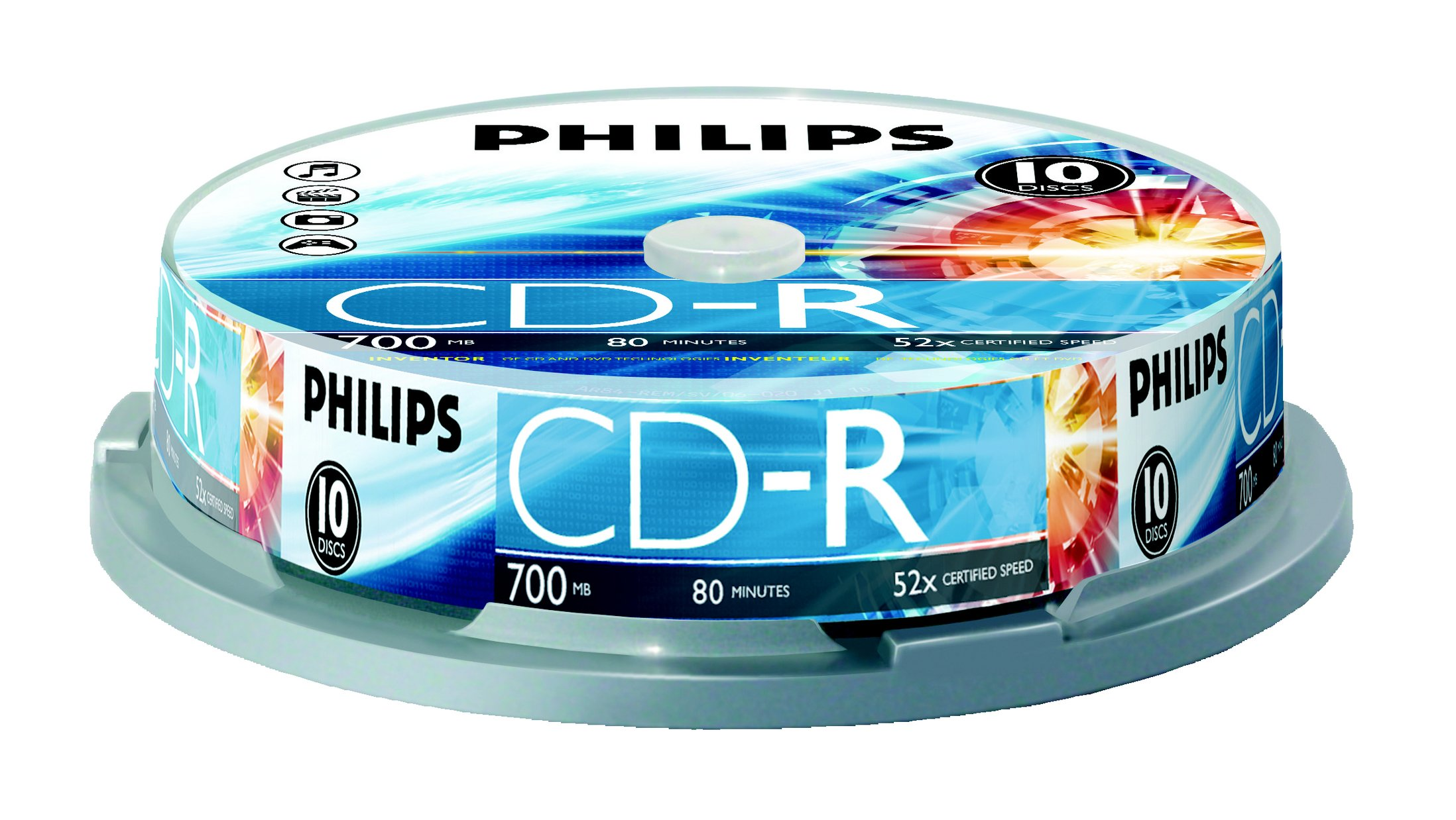Philips 700 MB C-Dr 10Ct Spindle (CR7D5NP10/17) by Philips (Image #1)
