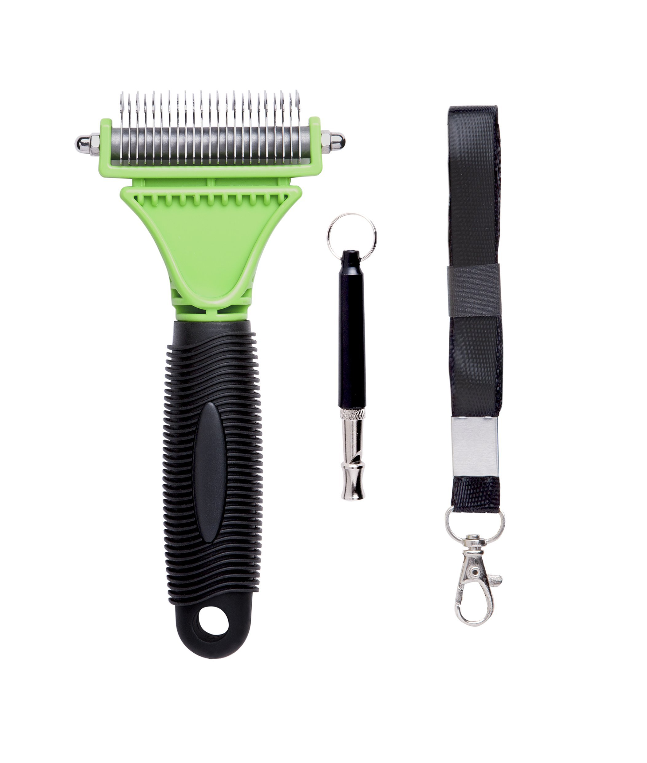 AwesomePets Dematting Comb Grooming Dog Whistle Set - Small Metal Rake Tool a Safety 2 Sided Teeth a Sensitive Skin Metal Training Whistles (Green + Dog Whistle)