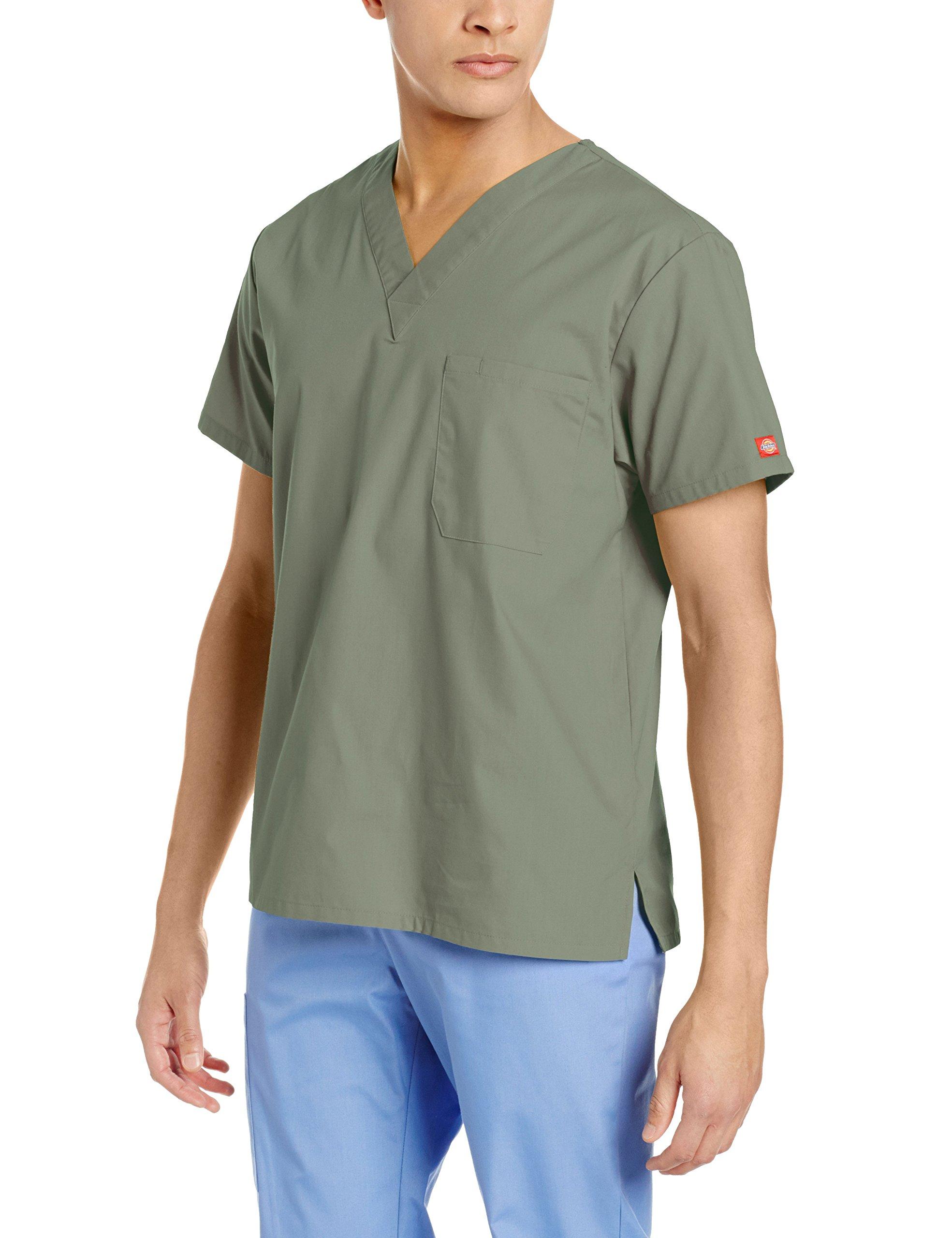 Dickies Men's EDS Signature Unisex V-Neck Scrub Top, Olive, X-Small