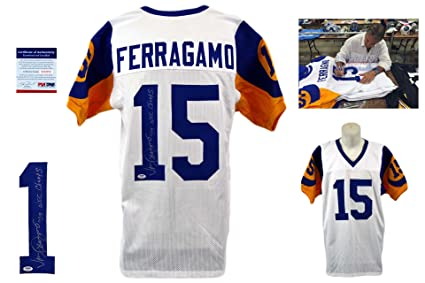 008103d19ba Image Unavailable. Image not available for. Color: Vince Ferragamo Signed  Custom Jersey PSA/DNA - Autographed - White