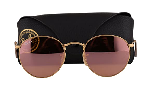40d4526510 Ray Ban RB3447 Round Metal Sunglasses Matte Gold w Brown Mirror Pink Lens  11222 RB 3447  Amazon.co.uk  Clothing