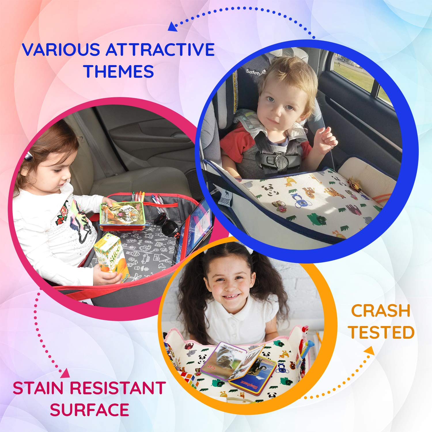 Learn /& Organize Lap Desk for Car Seats Strollers /& Air Travel DMoose Kids Travel Activity Tray Non-Flimsy Sturdy Side Walls /& Padded Base Waterproof Snack Play Tablet Holder Strong Buckles