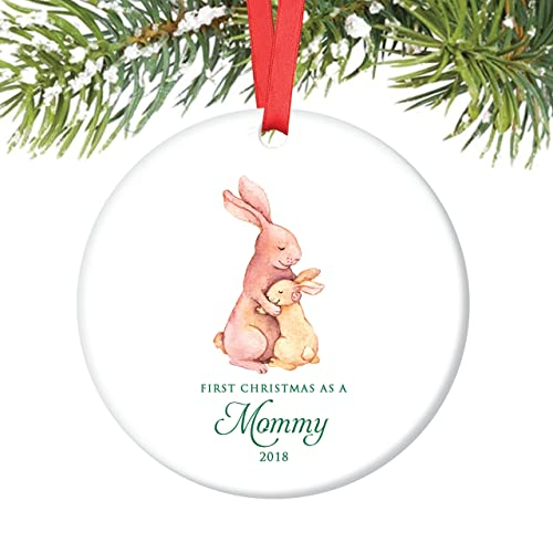 mommy ornament 2018 new mother 1st christmas as a mommy bunny rabbit porcelain ornament