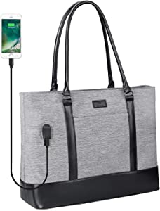 Laptop Tote Bag for Women, Teacher Tote Work Bag 15.6 Inch Laptop Bag with USB (Gray)