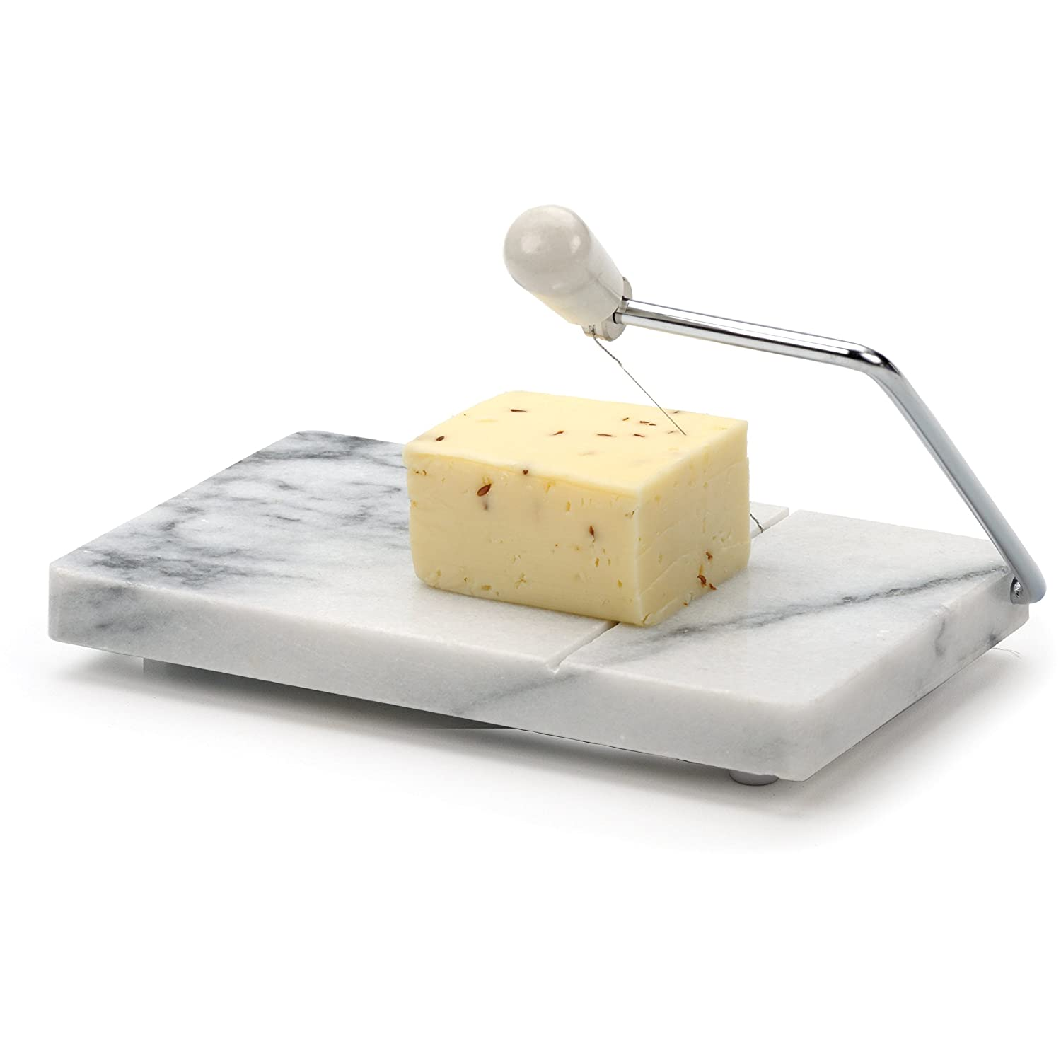 Amazon.com: RSVP Polished 8 x 5 White Marble Board Cheese Slicer ...