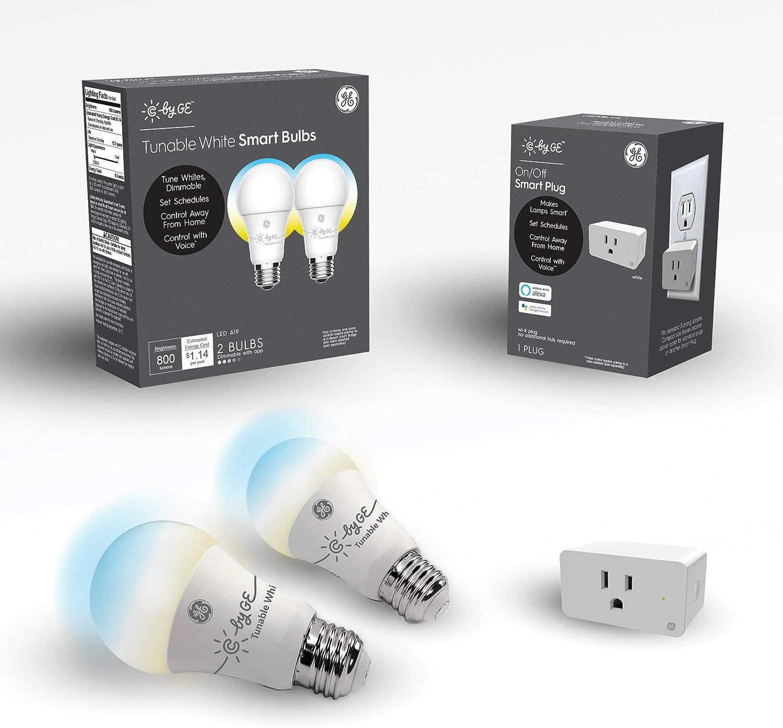 C by GE Smart LED Bulbs + Smart Plug Bundle (2 LED A19 Tunable White Light Bulbs + On/Off Smart Plug that Works with Alexa), Google Home and Alexa, Light Bulbs, Bluetooth Light Bulbs