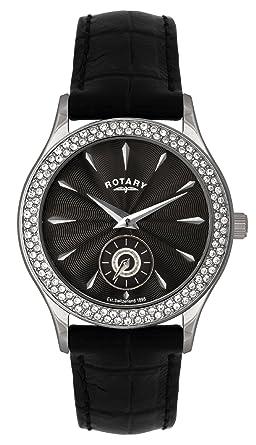 Rotary Timepieces - Reloj analógico de mujer de cuarzo con correa de piel negra: Amazon.es: Relojes