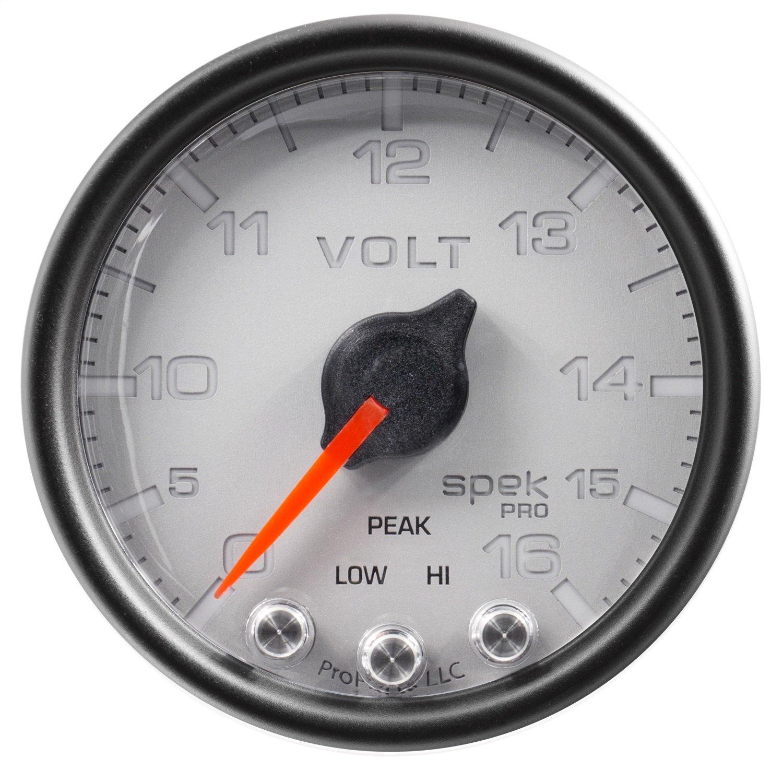 2 1//16 16V Auto Meter P34422 Gauge Slvr//Blk Spek-Pro 2 1//16 Stepper Motor W//Peak /& Warn Voltmeter
