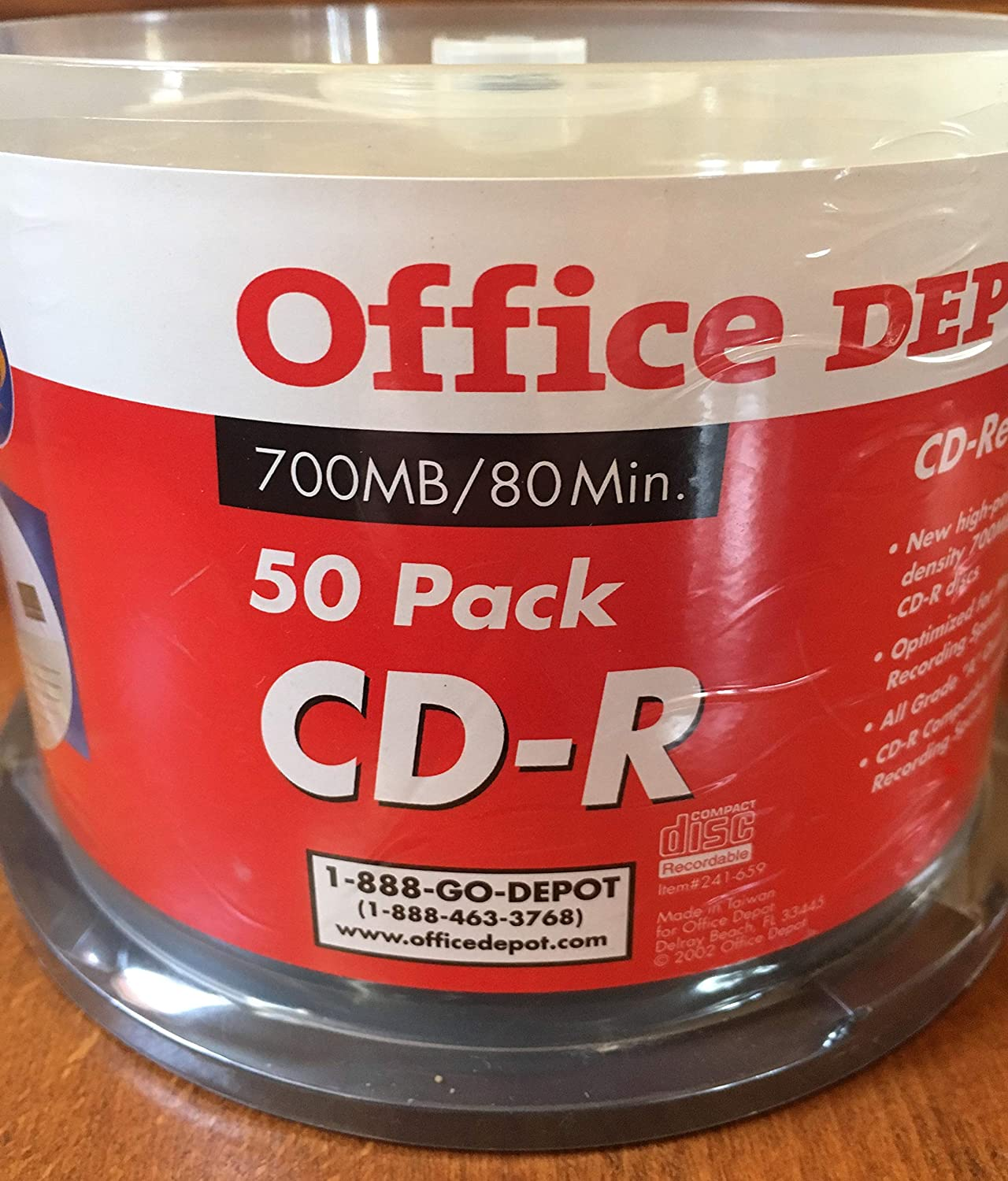 Office Depot(R) CD-R Spindle, 700MB/80 Minutes, Pack Of 50 (Discontinued by Manufacturer) Inc. 15721