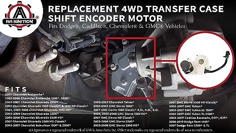 4WD Transfer Case Shift Encoder Motor - Fits Chevy Silverado, Tahoe,  Avalanche, Suburban, Dodge Ram 1500, 2500, GMC Sierra, Yukon XL 2003-2010 -