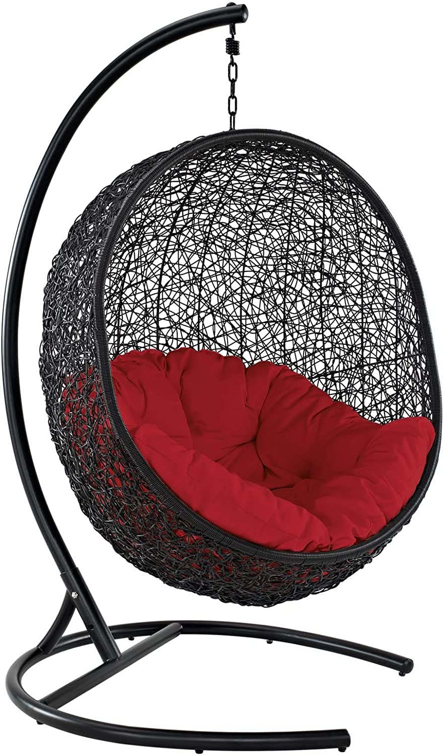 Modway EEI-739-RED-SET Encase Wicker Rattan Outdoor Patio Porch Lounge Egg, Swing Chair with Stand, Red