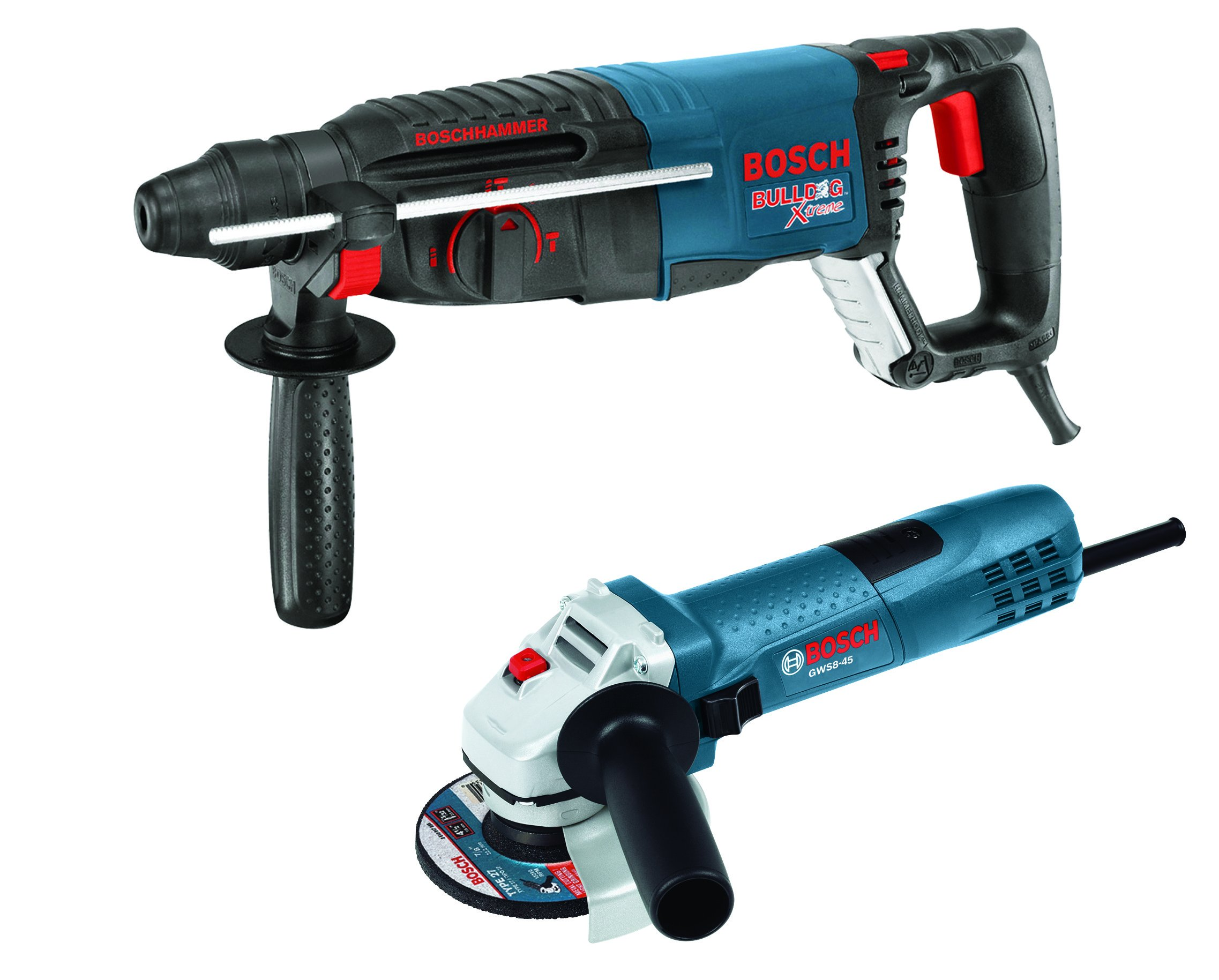 Bosch 11255VSR-GWS8 1'' SDS-plus Bulldog Xtreme Rotary Hammer with 4-1/2'' Small Angle Grinder, Blue