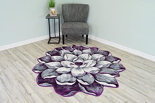 Flowers 3D Effect Hand Carved Thick Artistic Floral Flower Rose Botanical Shape Area Rug Design 301 Purple 2 7 x 2 7 Round