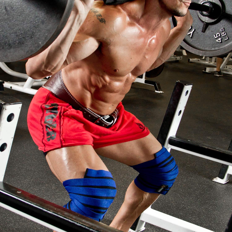 ... costuras duraderas - Heavy Duty 78 pulgadas elástica compresión rodilla Wraps para mejorar su Powerlifting, levantamiento de pesas y CrossFit ...
