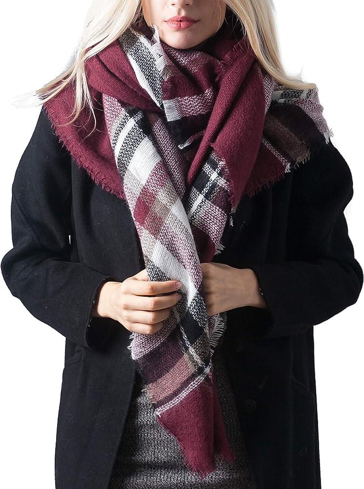976326a93 MissShorthair Women's Plaid Blanket Scarf Big Tartan Scarf Neck Warmer for  Winter