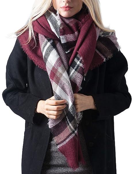 Women's Accessories Luxury Warm Winter Women Long Check Tartan Scarf Large Shawl Tassels Stole Wrap