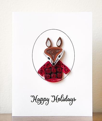 Amazon happy holidays card fox holidays card unique happy holidays card fox holidays card unique christmas card christmas greeting card m4hsunfo