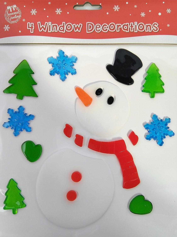 4 Hojas de Pegatinas Decorativas de Navidad para la Ventana - Adhesivos Decorativos de Gel Para la Ventana: Amazon.es: Amazon.es