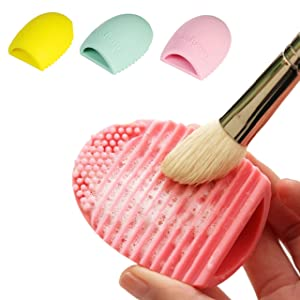 2Pcs Assorted Colors Brush Egg Cleaning MakeUp Washing Brush Silicne Finger Glove Scrubber Cosmetic Clean Tool
