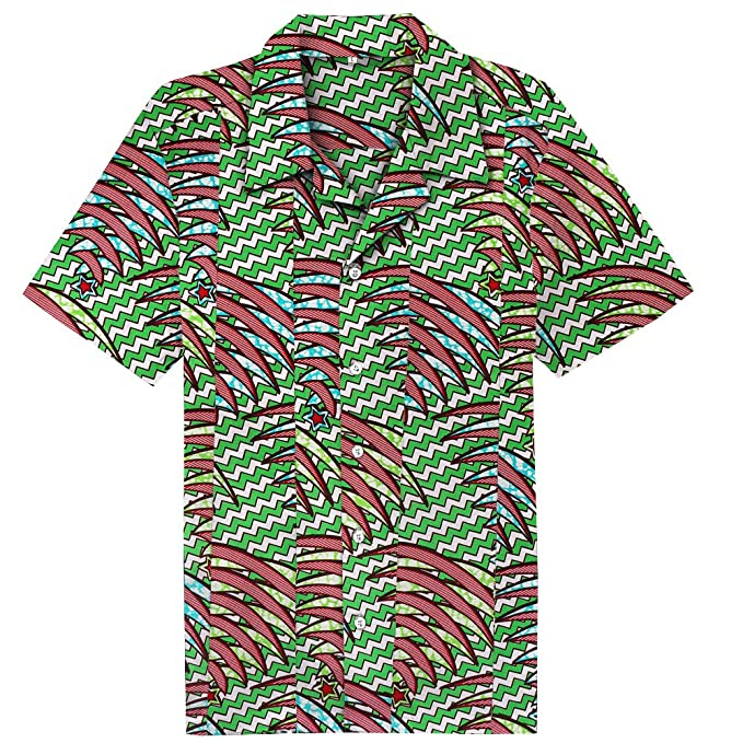 Candow Look rockabilly hawaiian style 100% cotton printed collared shirts 7MOJl
