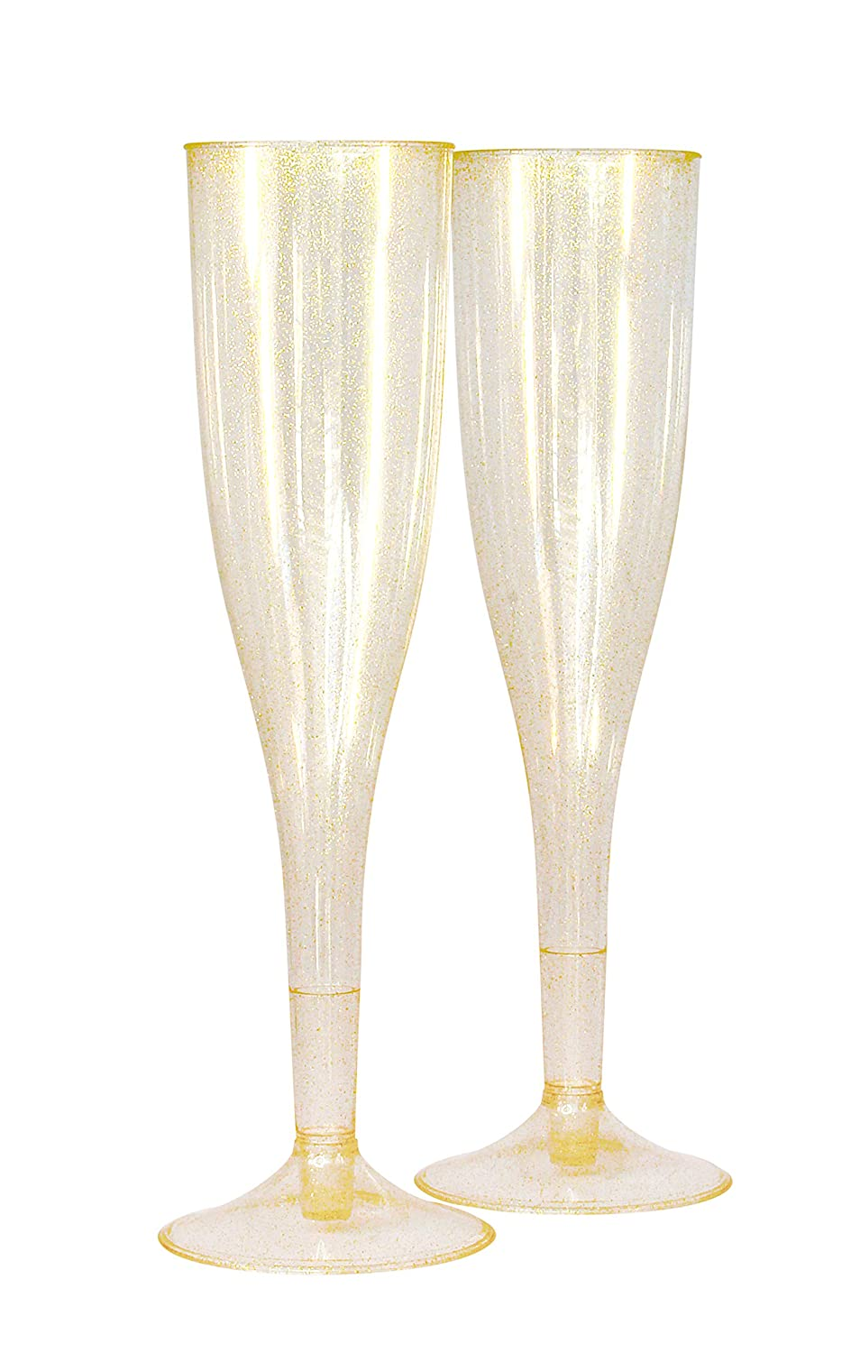 25 Gold Glitter Champagne Flutes | 5.5oz Quality Plastic Sparkling Disposable & Reusable | Perfect for Wedding Toast & Bridal Party & Birthday Reception & New Year's Eve Cocktail & Formal Gathering The Butler