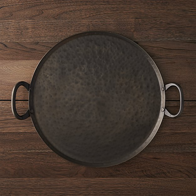Feast Round Hammered Iron Serving Platter | Crate and Barrel