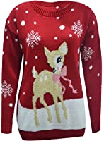 NEW WOMEN LADIES SINGLE BABY REINDEER CHRISTMAS JUMPER LONG SLEEVE KNITTED SWEATER UK SIZE 8-26 (M/L 12-14, 02RED/WINE)