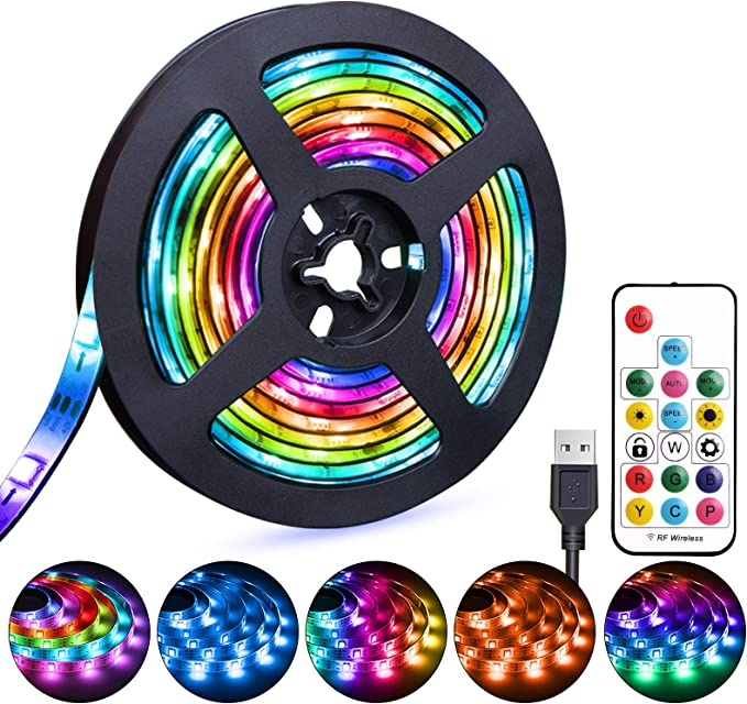 3M//9.84FT 3M//9.84FT 5 Volts,Safe and Touchable,DIY Indoor//Outdoor 5050RGB USB LED Strip Lights with 24 Remote Control