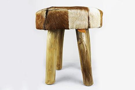 Zerimar sgabello in legno di teak rivestito in pelle di capra