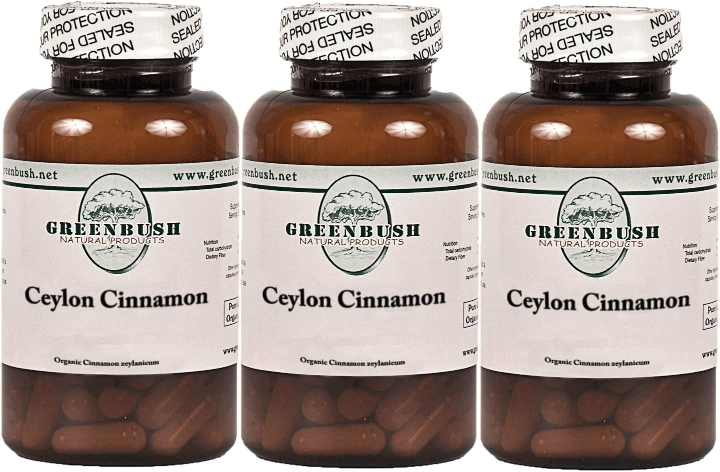 3 Bottle Pack Natural Ceylon Cinnamon 100 Vegetarian Capsules 575mg True Cinnamon for Blood Sugar, Abdominal Fat, Cholesterol, Urinary Tract, Digestive Health, Pain Management and Mental Function.
