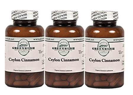 3 Bottle Pack Organic Ceylon Cinnamon 100 Vegetarian Capsules 575mg True Cinnamon for Blood Sugar, Abdominal Fat, Cholesterol, Urinary Tract, Digestive Health, Pain Management and Mental Function.