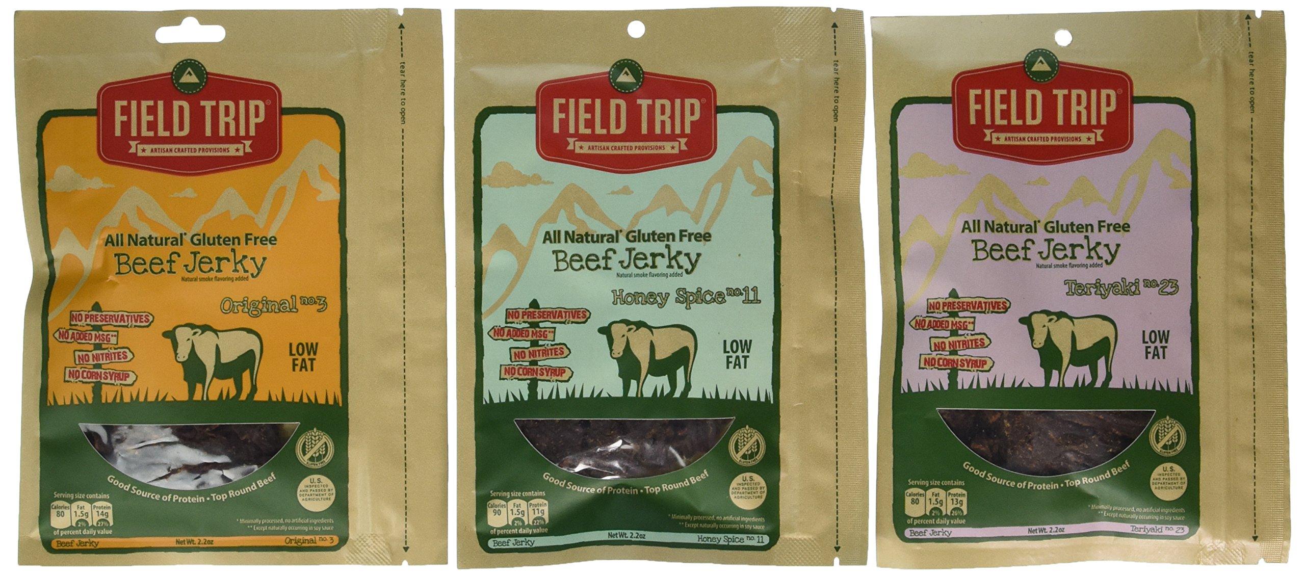 FIELD TRIP Best Sellers Variety Bundle, All Natural Gluten Free Beef Jerky, Teriyaki #23 + Honey Spice #11 + Original #3
