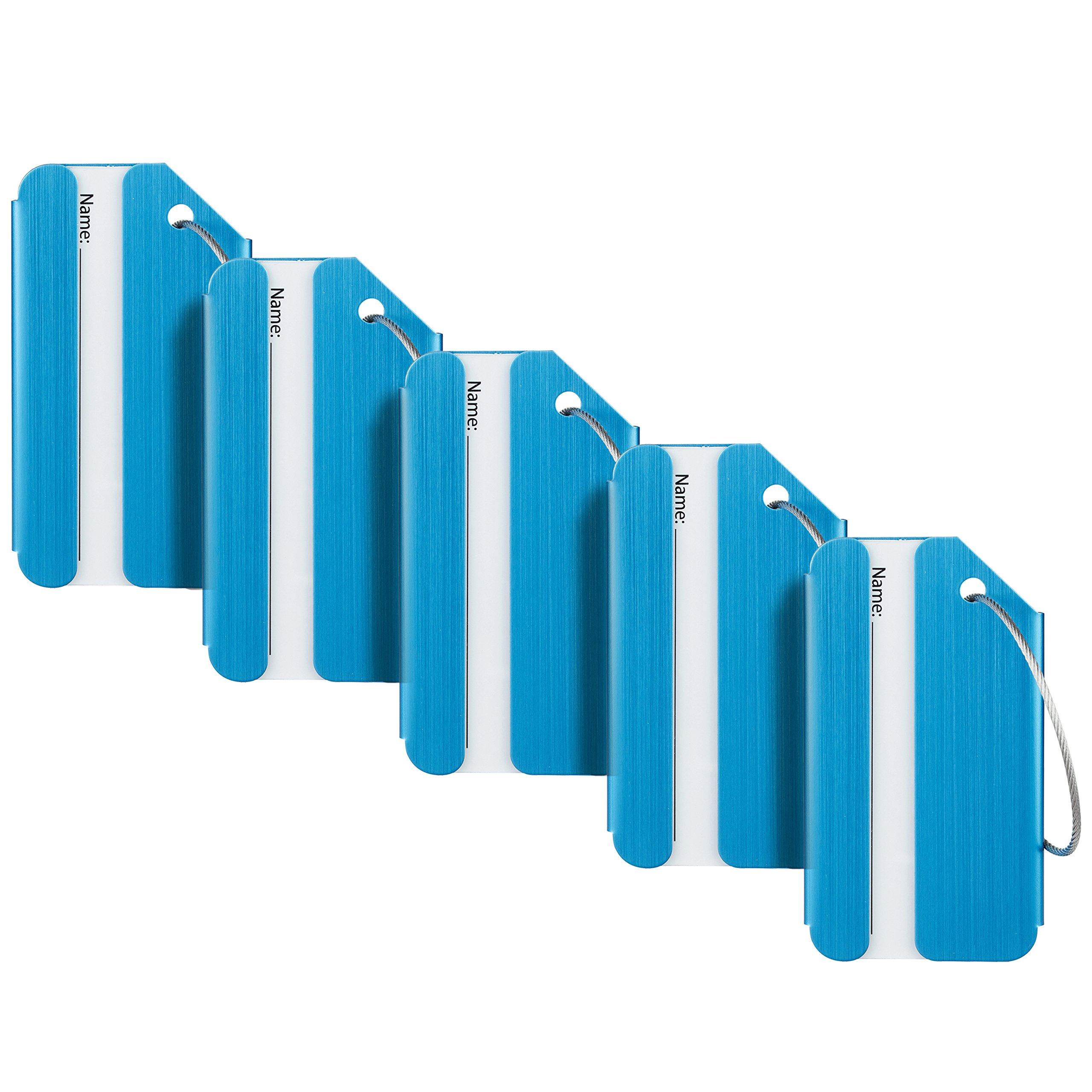 Travelambo Luggage Tags & Bag Tags Stainless Steel Aluminum Various Colors (blue 5 pcs set)