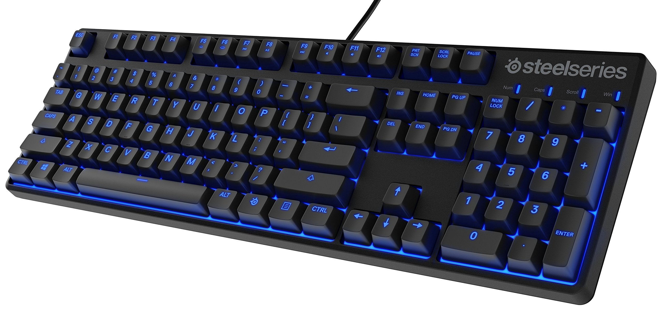 SteelSeries Apex M400 Illuminated Mechanical Gaming Keyboard - Linear Switch - Blue LED Backlit - Media Controls - Steel Back Plate