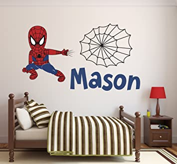 amazon com custom name spiderman wall decal baby boy kids decor